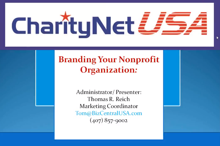 Branding Your Non Profit Organisation by Charity Net.USA