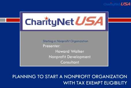 Planning to start a Nonprofit Organization with Tax Exempt Eligibility