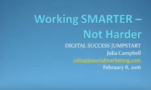 Working SMARTER – Not Harder