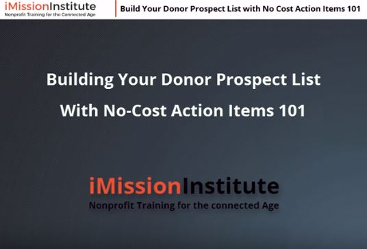Build Your Donor Prospect List with No Cost Action Items