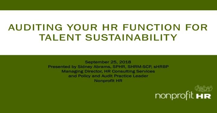 Tips for Auditing Your Nonprofit HR Function for Talent Sustainability