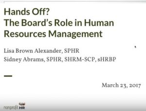 The Boards Role in Nonprofit Human Resource Management