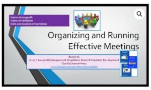 Organizing and running effective meetings