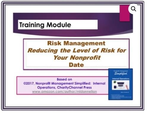 Risk Management Reducing the Level of Risk for Your Nonprofit