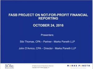FASB Project on Nonprofit Finacial Reporting