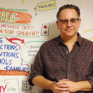 Terry Laban in front of a graphic recording