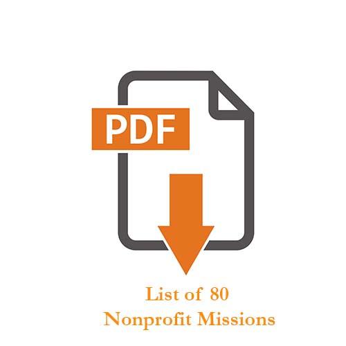 pdf symbol to download list of 80 nonprofit missions